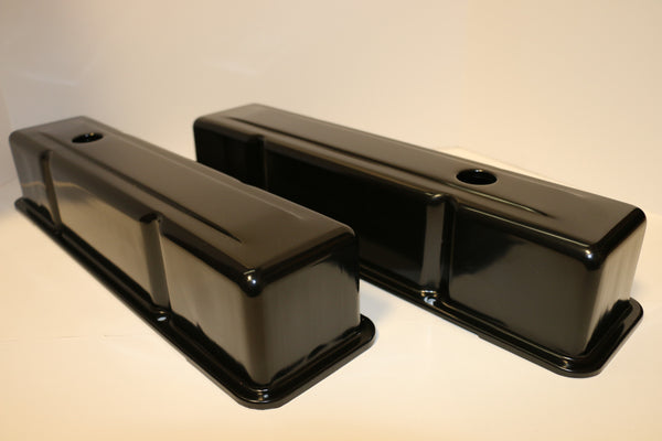Small Block Chevy Black Steel Valve Covers - Tall