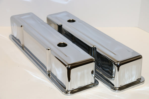 Small Block Chevy Chrome Steel Valve Covers - Tall