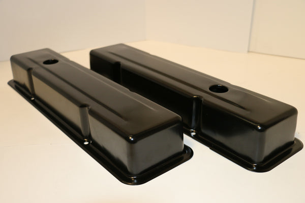 Small Block Chevy Black Steel Valve Covers - Short