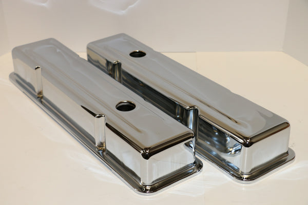 Small Block Chevy Chrome Steel Valve Covers - Short