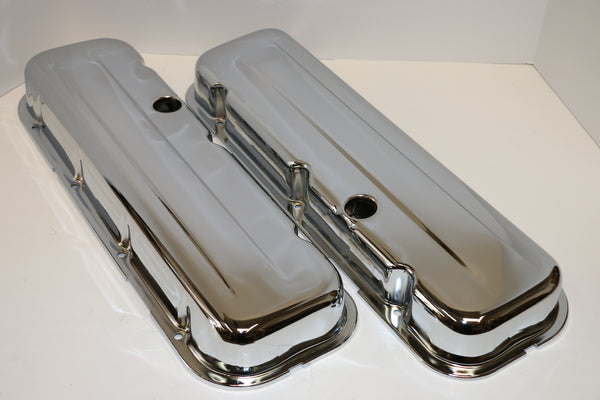 Big Block Chevy Chrome Steel Valve Covers - Short