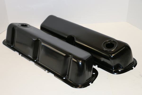 Small Block Ford Black Steel Valve Covers - Tall