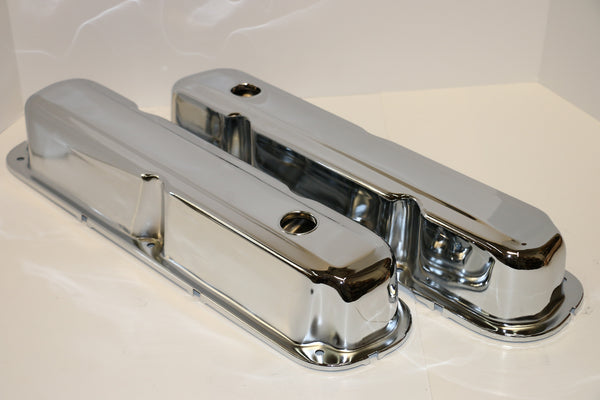 Small Block Mopar Chrome Steel Valve Covers - Short