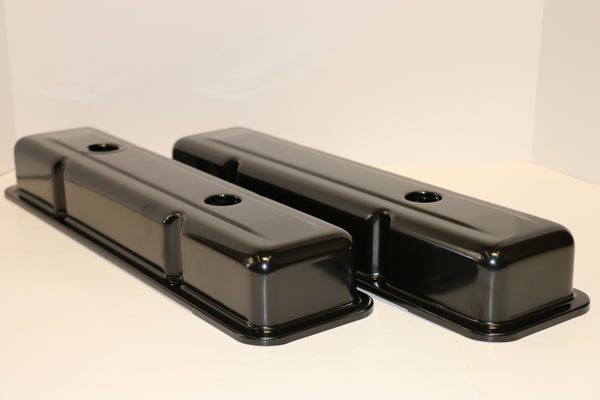 Small Block Chevy OEM Style Black Steel Valve Covers - Short