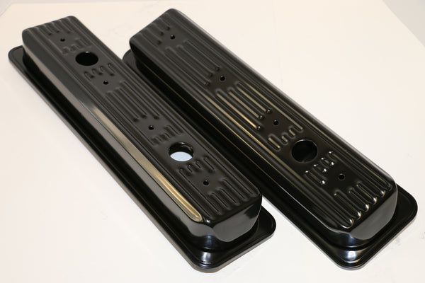 Small Block Chevy Centerbolt Black Steel Valve Covers - Short