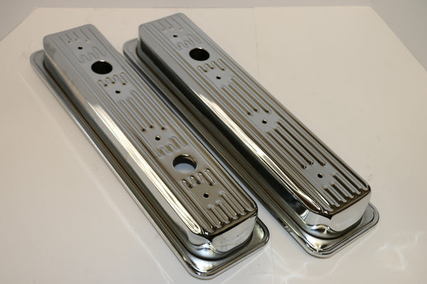 Small Block Chevy Centerbolt Chrome Steel Valve Covers - Short