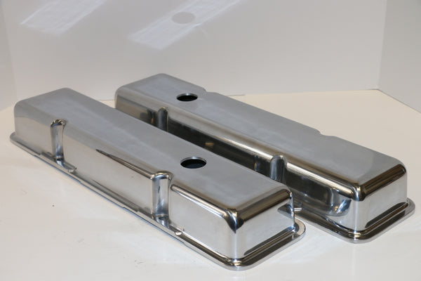 Small Block Chevy Smooth Polished Aluminum Valve Covers - Short