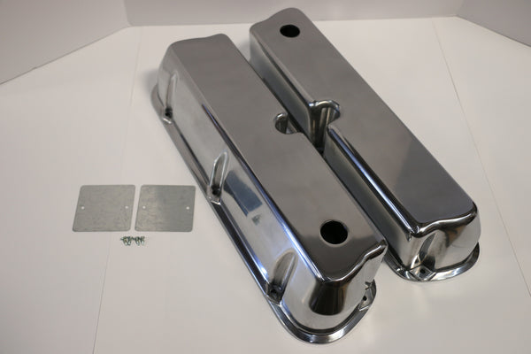 Small Block Ford Smooth Polished Aluminum Valve Covers - Tall