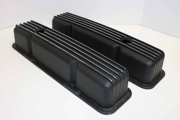 Small Block Chevy Finned Black Aluminum Valve Covers - Tall