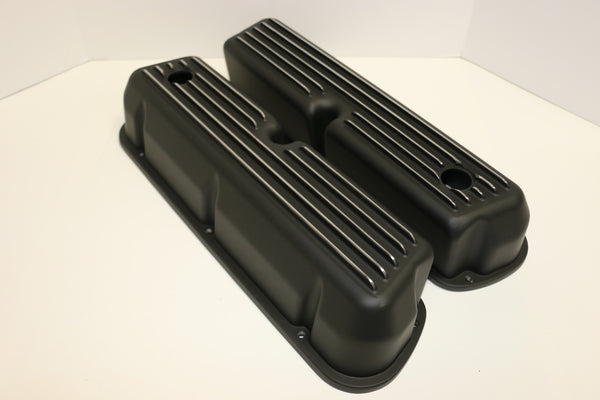 Small Block Ford Finned Black Aluminum Valve Covers - Tall