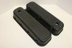 Big Block Chevy Finned Black Aluminum Valve Covers - Tall