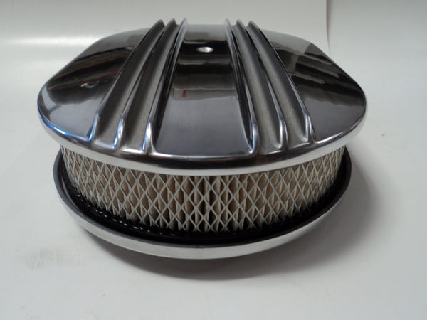 "12"" Half Finned Polished Aluminum Air Cleaner"