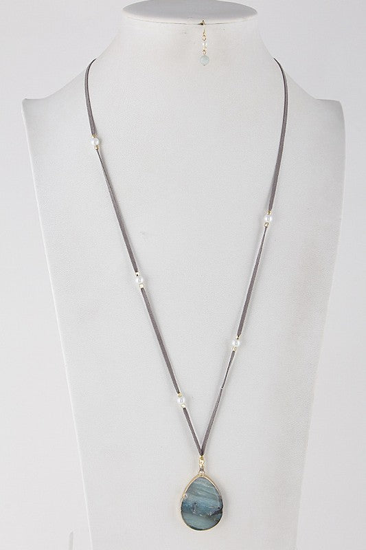 Teardrop Stone Long Necklace