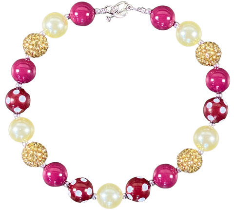 Berry, Gold & Ivory Bubblegum Necklace