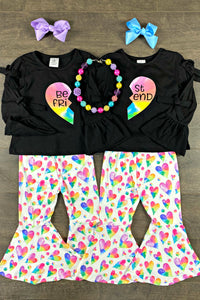 Best Friends Rainbow Heart Bell Pant Set