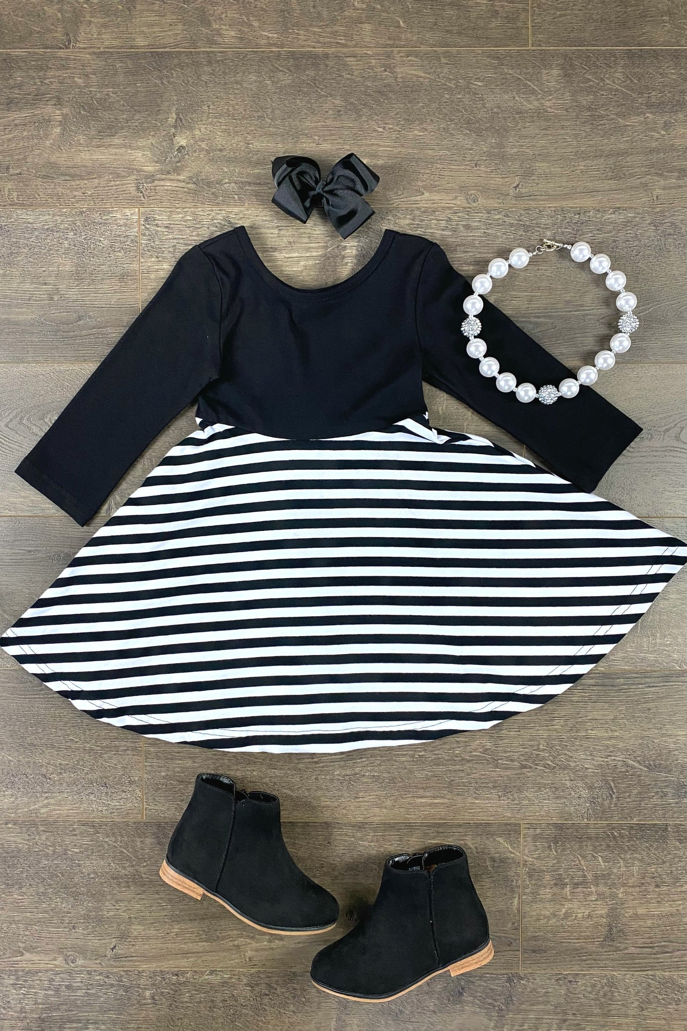 Black & White Stripe Amilie Twirl Dress