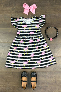 Black & White Striped Flamingo Dress