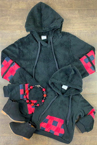 Blk & Red Plaid Pullover Hoodie Adult & Child