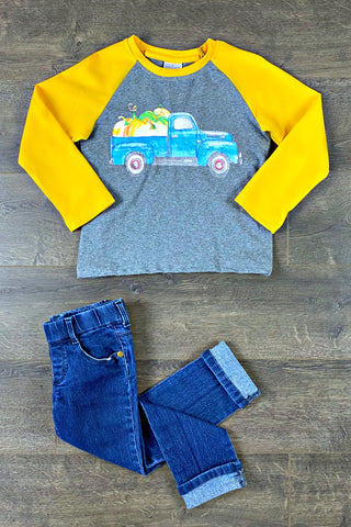 Boys Gray & Mustard Pumpkin Truck Top