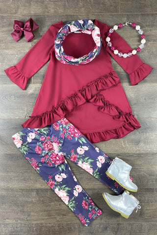 Charlotte Burgundy Floral 3PC Set