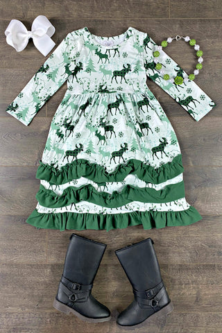 Evergreen Moose Long Ruffle Dress