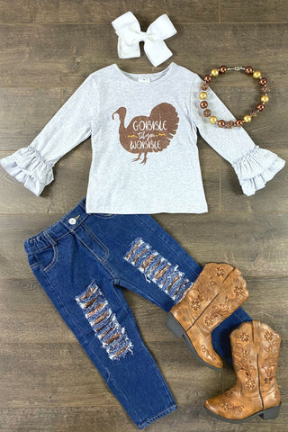 """Gobble Til You Wobble"" Sparkly Denim Patch Set"