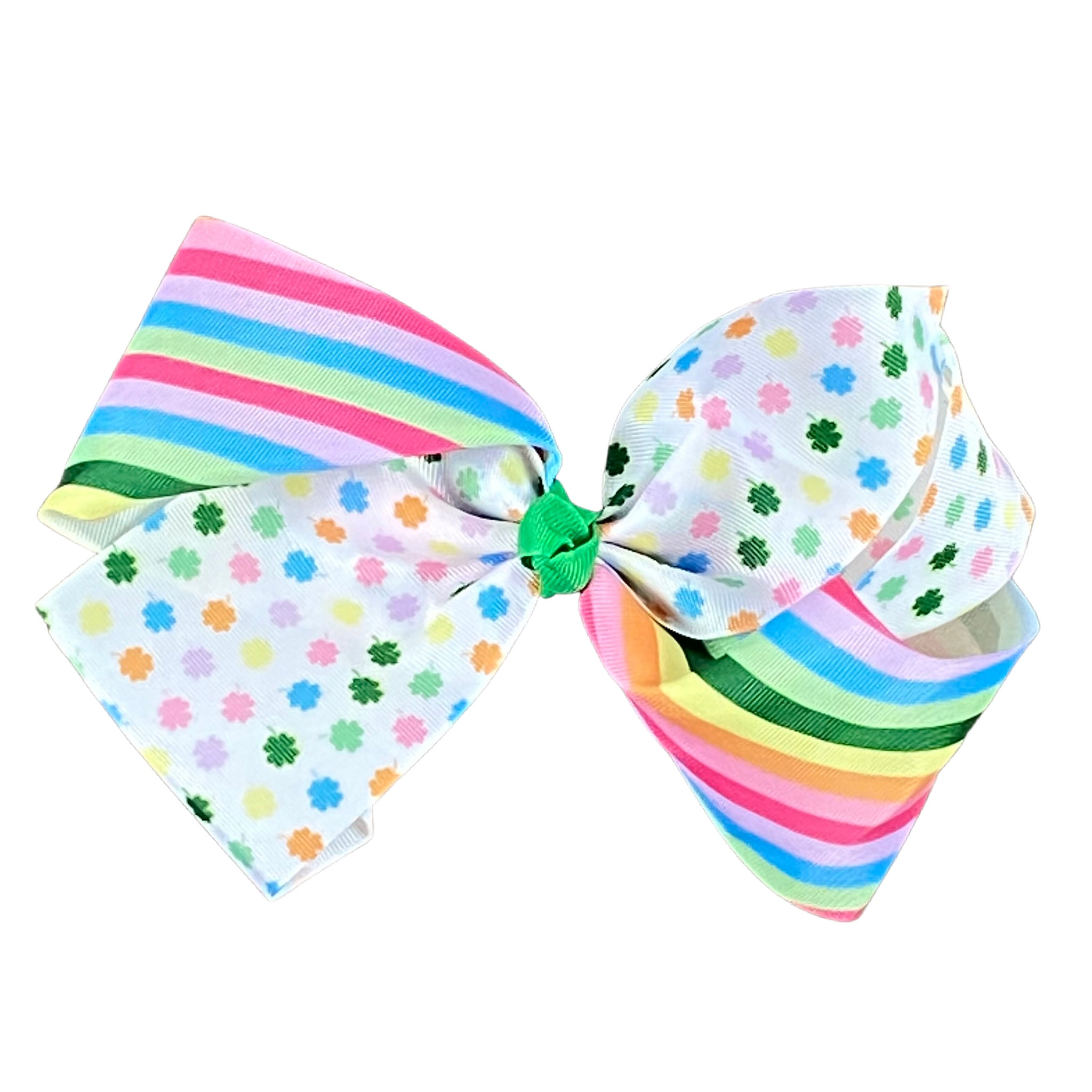 Rainbow Clovers & Stripes Hair Bow Clip