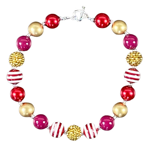 Cranberry Red & Gold Stripe Bubblegum Necklace