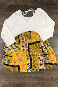 Woman Mustard Floral Top (plus sizes too!)