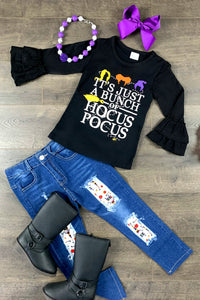 It's Just A Bunch Of Hocus Pocus Denim Patch Pant Set