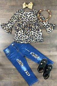 Leopard Bell Sleeve Denim Patch Set