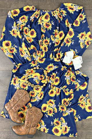Mom & Me Sunflower Cinched Waist Dress