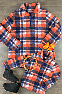 Navy & Orange Flannel Pullovers Mini & Me