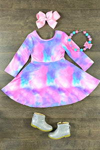 Pastel Tie Dye Twirl Dress