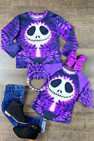 Purple Tie Dye Skeleton Top Mr. & Miss.