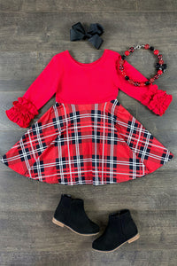 Red & Black Plaid Twirl Dress