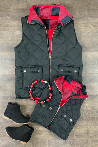 Red & Plaid Quilted Sherpa Vest ~ Adult & Child~ REVIRSIBLE!