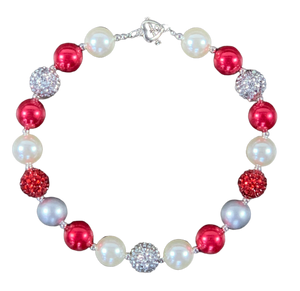 Red & Silver Sparkly Bubblegum Necklace