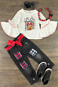 Reindeer Boutique Denim Patch Pant Set