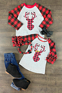 Reindeer Plaid Tops