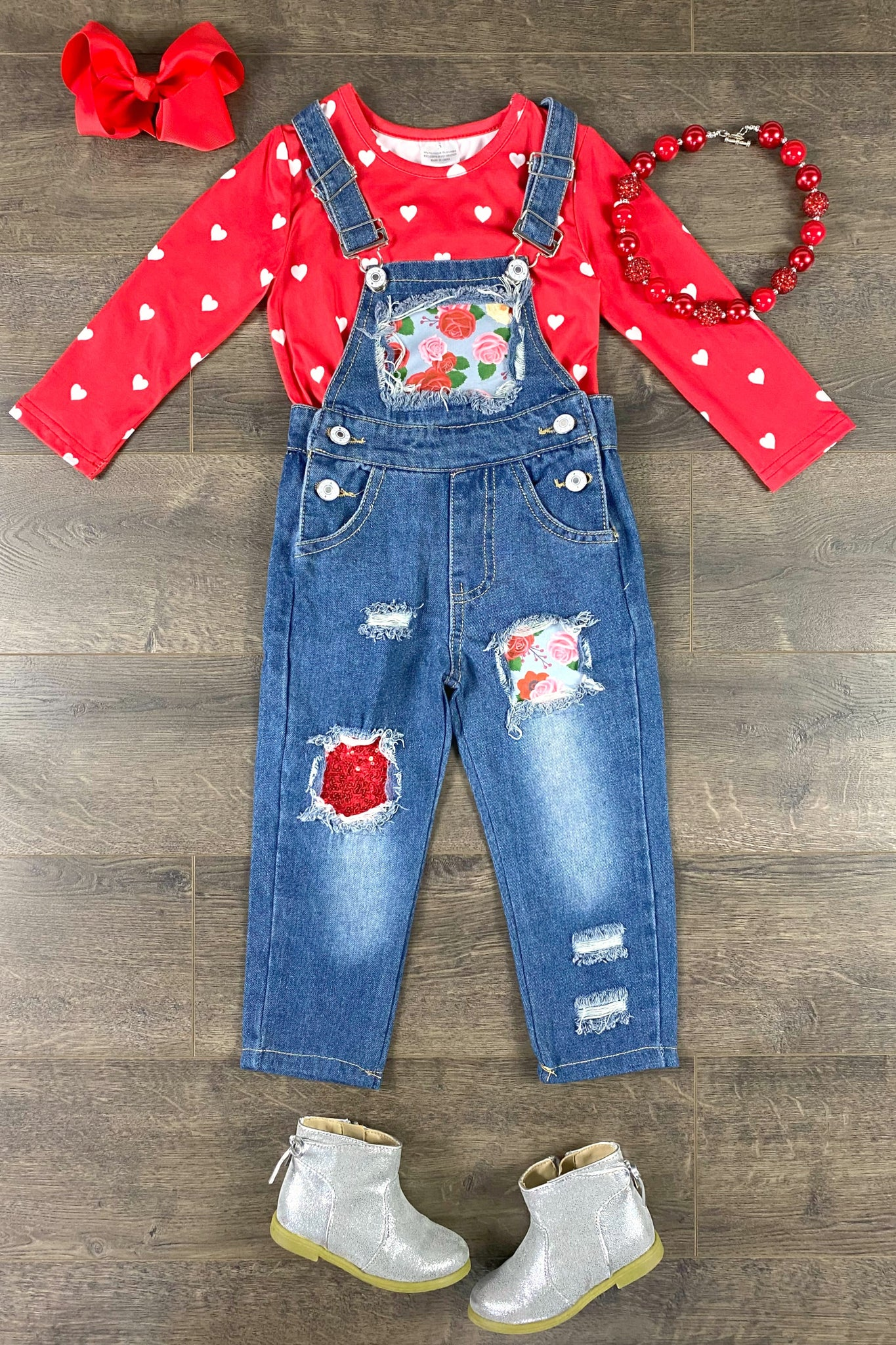 Ruby Red Hearts & Sparkly Floral Denim Overall Set