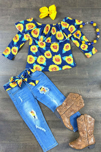 Sunflower Gypsy Top & Denim Patch Pant Set