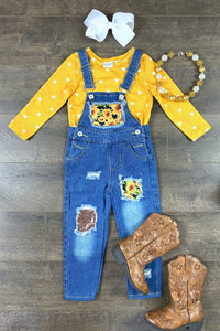 Sunflower Patch Denim Overall Set