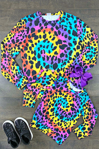 Tie Dye Rainbow Leopard Swirl Adult & Child Tops