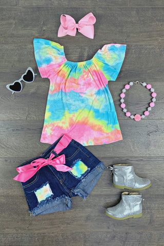 Tie Dye Denim Patch Short Set