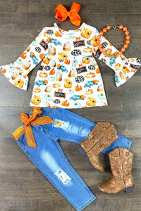 Vintage Pumpkin Denim Patch Set
