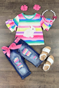 Tatum Rainbow Bunny Denim Capri Set