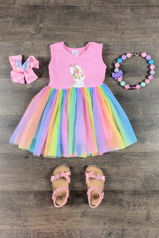 Kaykay Rainbow Tutu Bunny Dress