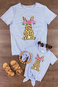 Mom & Me - Leopard Bunny Top Tie Shirts
