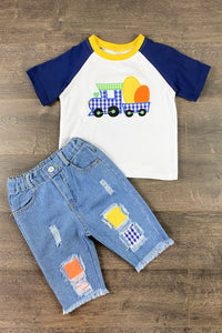 Boys Easter Egg Train Denim Patch Set